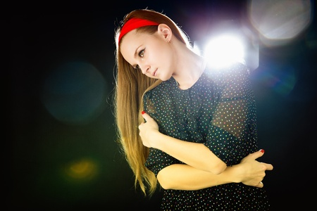 Young teenager girl on black background Stock Photo - 11478536