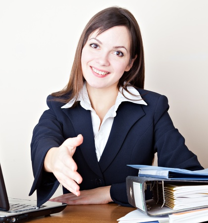 acquaintance: Acquaintance with the young business woman Stock Photo