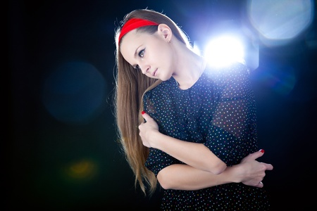 Young teenager girl on black background Stock Photo - 11882154