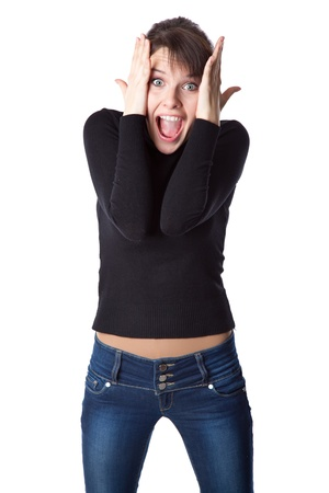 Young woman is screaming. Isolated on white background Stock Photo