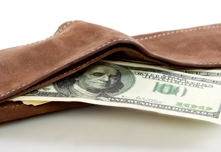 notecase: A purse with money. Isolated on a white background