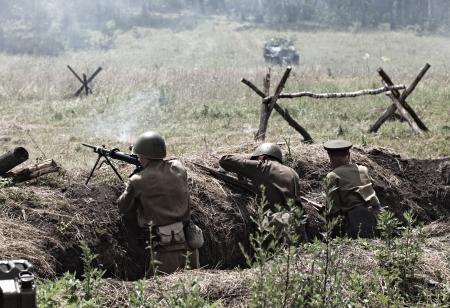 seconda guerra mondiale: La ricostruzione della battaglia della seconda guerra mondiale. Russia, Orel, Mcensk, 7 luglio, 2012