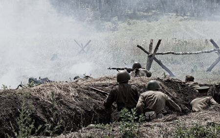 world war two: The reconstruction of the battle of the Second World War. Russia, Orel, Mcensk, 07 July 2012 Editorial
