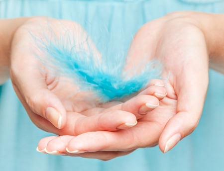 Womans hands with feather close-up photo