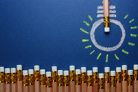 different idea think different: light is made of pecils on blue paper
