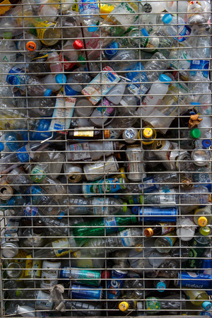 recyclable: Recyclable garbage of glass,cans,plastic, bottles in trash Steel