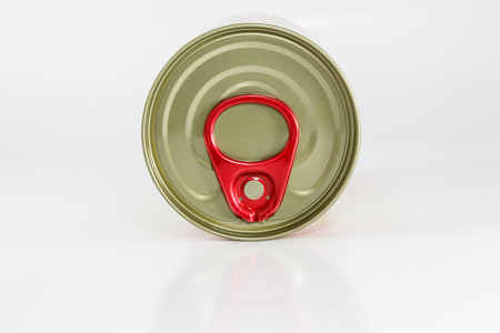 Top view of tin can on white background Stock Photo