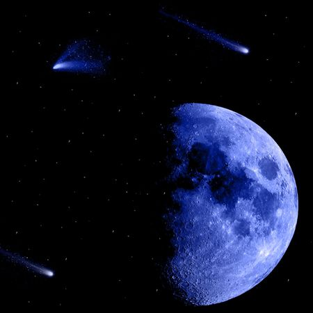 Blue moon and shooting stars