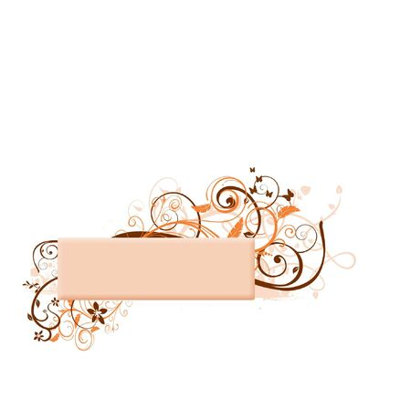add you own text - beige swirly banner Stock Photo