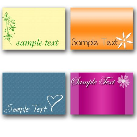 set of four cards with thank you and pattern Stock Photo