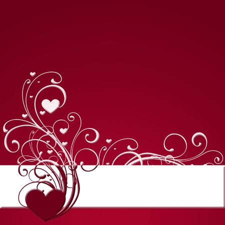 red banner with heart