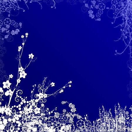 dark blue background with white foliage Stock Photo