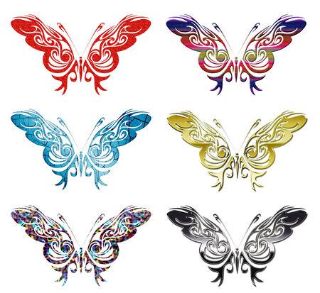 set of 6 patterned butterfly vectors Illustration