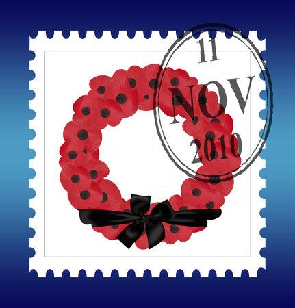 remembrance stamp with black ribbon Illustration