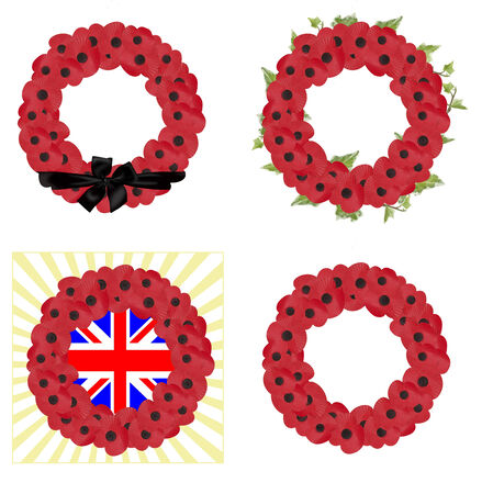 set of 4 remembrance sunday wreaths Vector