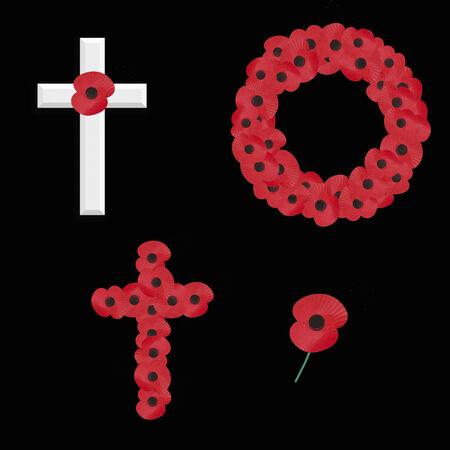 red poppy: set of 4 remembrance sunday vectors on black