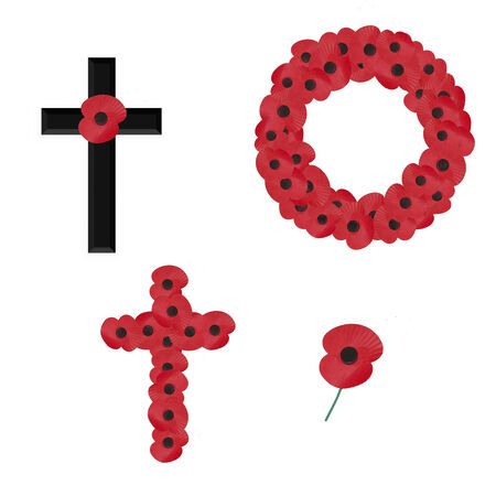 set of 4 remembrance sunday vectors on white Vector