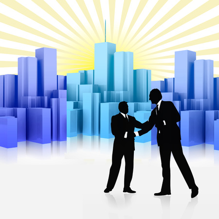 successful business deal with skyscraper background Illustration