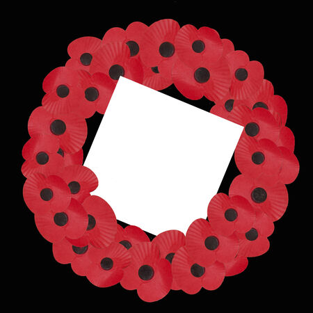 remembrance day poppy: remembrance sunday wreath with blank note for own message Illustration