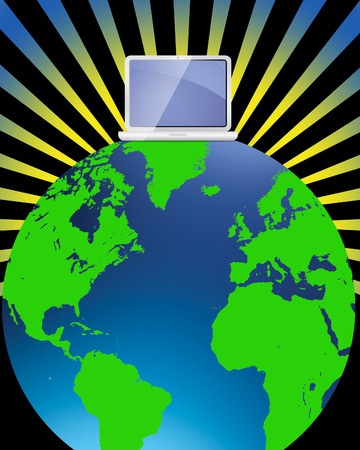 world wide web with laptop sat on top of a globe Illustration