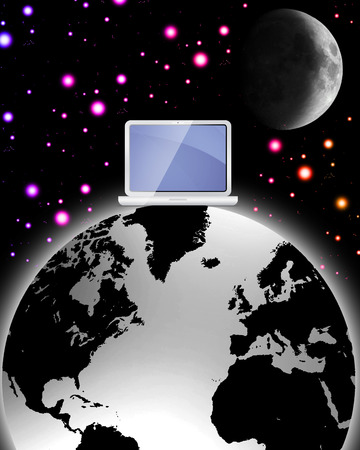 surreal world wide web with colourless world and laptop sat on top with colourful stars Illustration