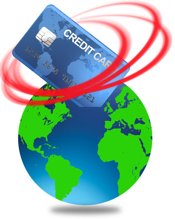 world credit in the red with credit card and globe Illustration