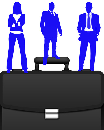 business people stood on top of a brief case