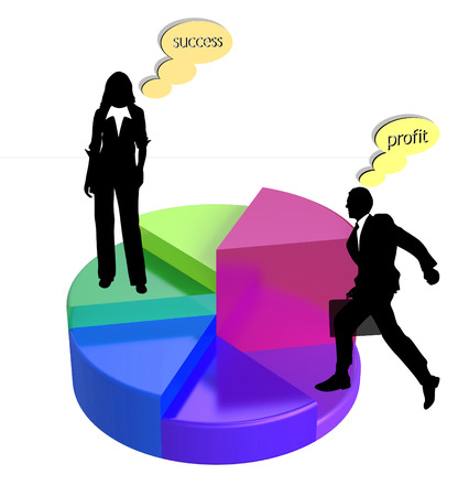 business people on pie chart with successful business thoughts Illustration