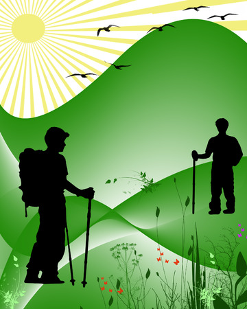 people hiking: hikers in the country abstract Illustration