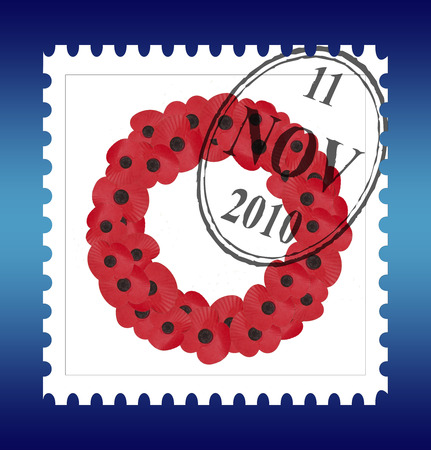 remembrance stamp with date and plain wreath