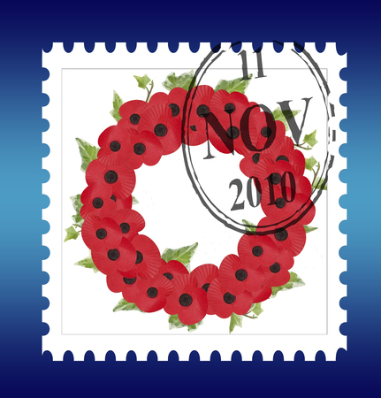 remembrance stamp with date and ivy wreath