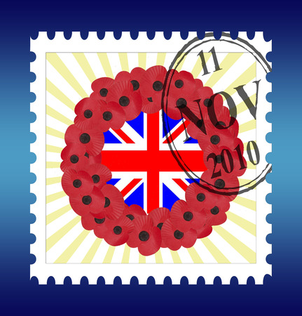remembrance stamp with date and union jack wreath Illustration