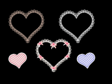 lace hearts isolated on black background
