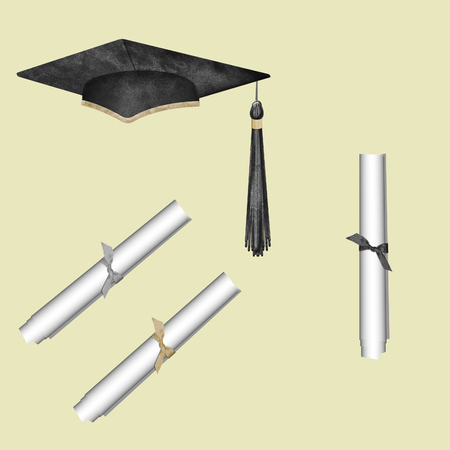 set of 3 graduation scrolls and graduation cap isolated on neutral background  Illustration