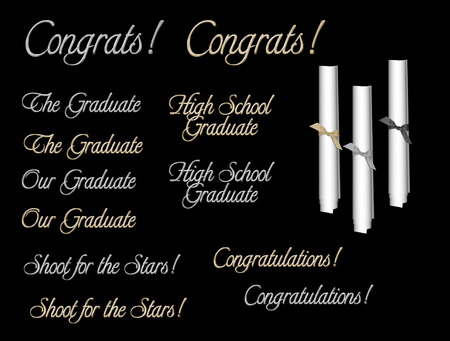 graduation wordart with 3 scrolls isolated on black background Stock Vector - 6976076