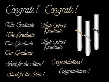graduation wordart with 3 scrolls isolated on black background Illustration