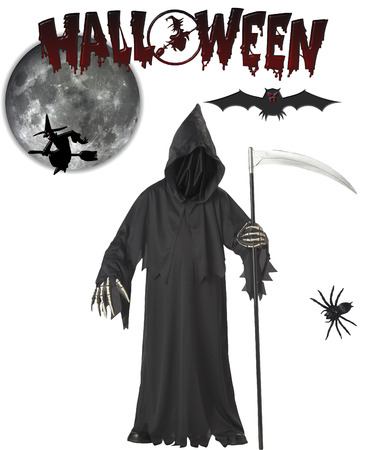 grim: halloween with grim reaper and halloween elements isolated on white background Illustration
