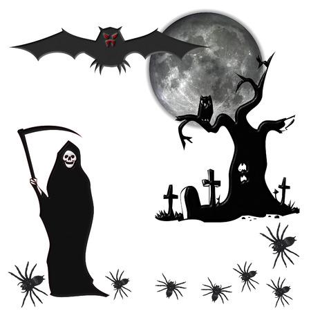 reaper: Halloween mit Halloween-Elemente, die isoliert auf wei�em Hintergrund