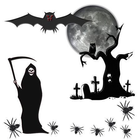halloween with halloween elements isolated on white background Vector