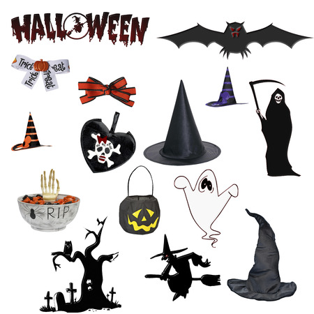 halloween elements isolated on white background