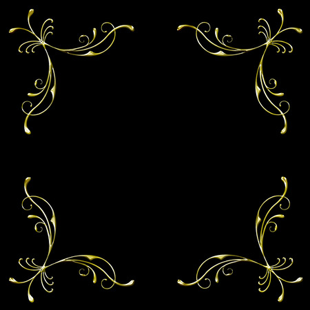 golden filigree border in format isolated on black background Stock Vector - 6976068