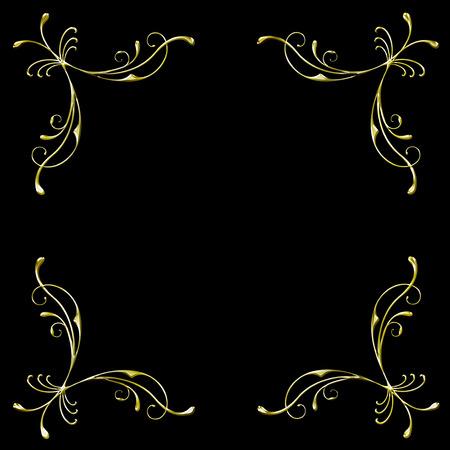 golden filigree border in format isolated on black background