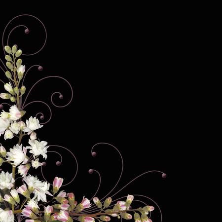 flower border with swirls Illustration