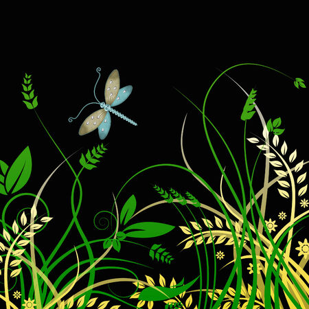 dragonfly and foliage Illustration