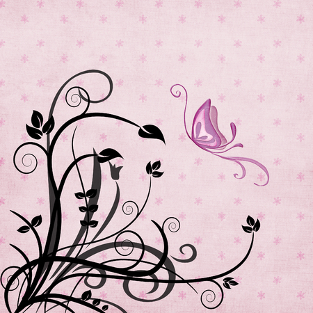 butterfly and foliage with patterned background Vector