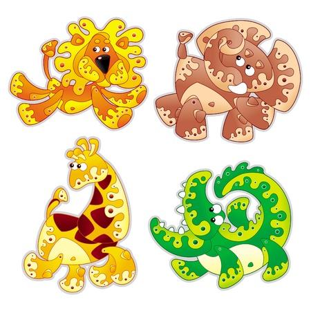 Animals stylized in cartoon.