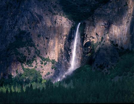 john muir trail: Yosemite s Bridalveil Falls and Shadows Stock Photo