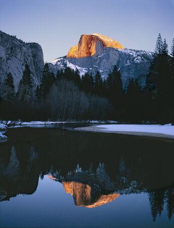 john muir trail: Yosemite Half Dome Reflection Stock Photo