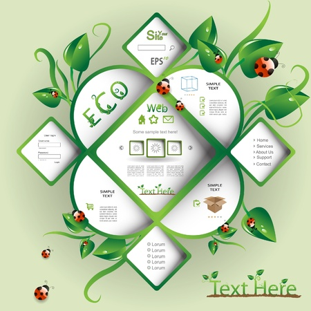 contact page: Natural eco vector webdesign Illustration