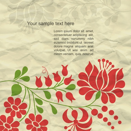 flower line: Colorful modern vector background with grunge paper and spring flower